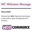 WC Welcome Message